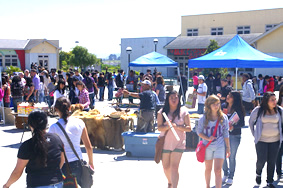 Students amid Earth Day acitivities at PVHS campus
