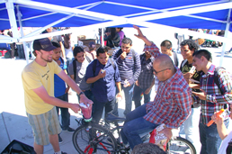 People Power's bicycle education booth, which challenged students to make their own fruit smoothies by peddling a bike-powered blender.