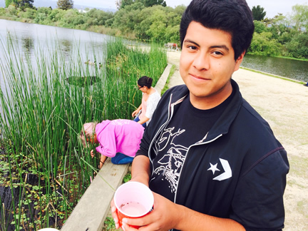 High schooler Rodrigo García teaches the ecology of Watsonville's sloughs and lakes to elementary and middle school students.